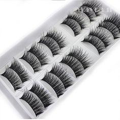 17e2c025999 Eyelashes Makeup Cheap Natural 10 Pairs 100% Real Mink Hair Thick False  Eyelashes Strip Lashes