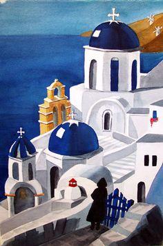 nice. greek church at coast. white and blue