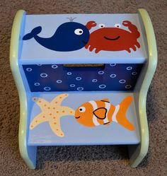 Hey, I found this really awesome Etsy listing at https://www.etsy.com/listing/174417723/ocean-step-stool-childrens-step-stool