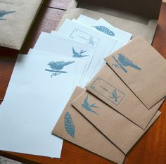 Bird Themed Letter Paper and kraft Envelopes- 13 Piece Set-Stationery. $12.00, via Etsy.