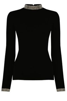 This elegant jumper is constructed from a lightweight knit with stretch and features full length sleeves, collar and cuff embellishment and key hole and clasp detail on the back. Length of top from shoulder seam to hem, 59cm approx. Height of model shown 5ft 10inches/178cm. Model wears
