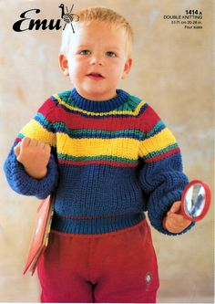 Vintage Knitting Pattern pdf. Toddlers Jumper by NostalgicStyles