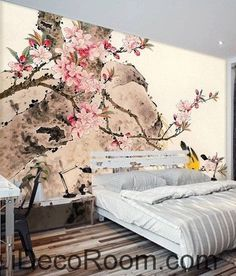Retro pink cherry blossom on the branches of the oriole magpie oil painting effect wall art wall decor mural wallpaper wall  IDCWP-000273