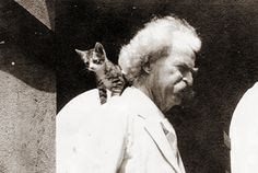 Mark Twain and a kitten on his shoulder http://www.terriwindling.com/blog/cats-cat-lore/