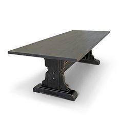 Vintage Mill Werks, Our Capistrano Trestle Table is handmade from Old Growth Douglas Fir and is shown in a hand waxed Antique Black finish Furniture Care, Solid Wood Furniture, Furniture Making, Painted Furniture, Rustic Furniture, Table Furniture, Antique Furniture, Reclaimed Wood Kitchen, Extension Table