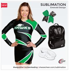 Emerald sublimation design - Follow the pin to create your own custom cheerleading uniform, without the big price tag!