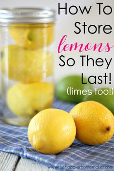 How to store lemons so they last longer (works for limes too!) Great kitchen tip-I hate when I go to juice my fruit for a recipe and it's all hard and dried out! How to Keep Lemons fresh Diy Kitchen Decor, Kitchen Tips, Kitchen Racks, Kitchen Storage, Lemon Recipes, Recipes For Lemons, Food Facts, Canning Recipes, Canning Jars
