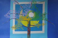 """Spring Moon""   39 1/2"" X 25 1/2""   Collage, fabric & acrylic"