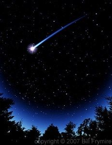 A shooting star in the night sky. Make a wish, say goodnight and dream wonderful dreams!