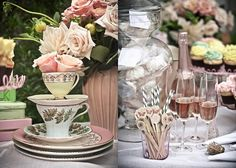 Stacks of tea cups with flowers