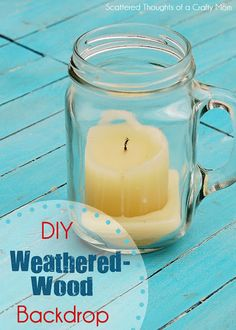 DIY Weathered Wood Photo Backdrop (She uses shims, I think I'd use the large cache of paint stirrers I have stashed in the work room. Diy Photo, Photo Tips, Paint Stirrers, Photography Backdrops, Photography Tips, Tea Stains, Mason Jar Candles, Photo On Wood, Through The Looking Glass