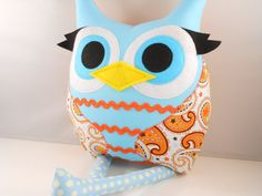 Handmade Owl Pillow Plush Stuffed Toy Christmas kids gift