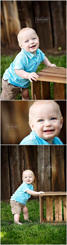 Baby Boy Photos | Baby Boy Pictures | Outside | Outdoors | Standing Up | Smiles | Blue | Kansas City Baby Photographer | Melissa Rieke Photography | One Year | Blue, Red & Yellow