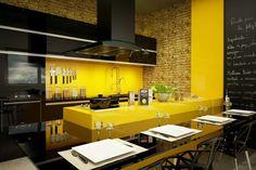 Cozinha amarelo e preto
