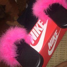 39bcc31fa3695 Pink fur slides Brand new pink fur slides sandals  slippers Nike Shoes