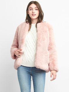 Gap Womens Oversize Faux-Fur Jacket Pink