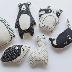 Monochrome animal pillows black and white nursery made in kenya Baby Pillows, Kids Pillows, Animal Pillows, Throw Pillows, Couch Pillows, Hedgehog Animal, Dou Dou, White Nursery, Nautical Nursery