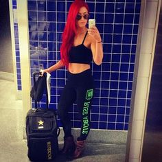 from Eva Marie's Latest Pics Natalie Eva Marie, Cute Gym Outfits, Wwe Wallpaper, Rocker Style, Latest Pics, Fitness Goals, American Actress, Leather Pants, Sporty
