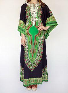 70s vintage Dashiki kaftan jurk @ www.secondhandnew.nl