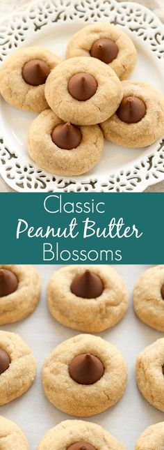 Soft peanut butter cookies topped with a chocolate kiss candy in the center. These Peanut Butter Blossoms are perfect for the holidays!