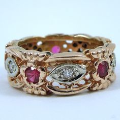 Vintage Round Cut Ruby and Diamond Band. Set in Rose Gold.  - $800