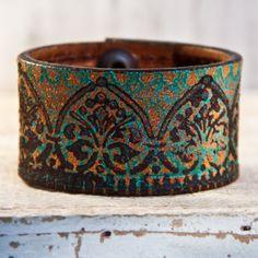 Cuff | RainWheel Designs.  Handmade from a Vintage Belt.
