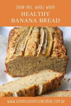 Make the switch to this delicious, sugar free and whole wheat Healthy Banana Bread. Perfectly moist, this banana bread is a simple, one bowl recipe. Healthy Meals For Kids, Healthy Foods To Eat, Healthy Baking, Kids Meals, Healthy Sweets, Frugal Meals, Healthy Snacks, Healthy Recipes, Lunch Box Recipes