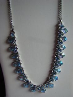 Vintage CORO Blue AB Crystal Necklace and Clip by ChooChooJewelry, $40.00