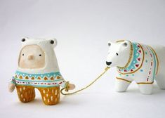 Animal totem and boy Paper clay miniatures by sweetbestiary Clay Projects, Clay Crafts, Clay Dolls, Art Dolls, Plastic Fou, Sculptures Céramiques, Clay Figures, Paperclay, Animal Totems