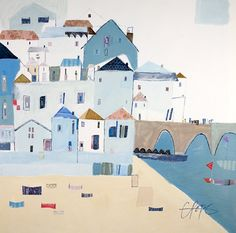 St Ives 2 Framed at Whistlefish - handpicked contemporary & traditional art that is high quality & affordable. Building Illustration, Landscape Illustration, Children's Book Illustration, St Ives Beach, Seaside Art, Naive Art, Affordable Art, Art Plastique, Graphic