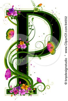 S Alphabet In Flowers ... Green, With Colorful Flowers And Butterflies by BNP Design Studio More