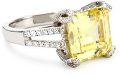 "Myia Passiello ""Timeless"" Swarovski Zirconia Canary Yellow Ring, Size 6"