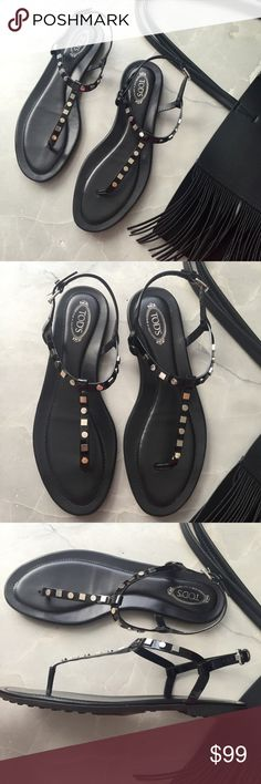 🆕 TOD'S studded thong sandals These statement sandals are the perfect piece to add to your summer wardrobe! These TOD'S thong sandals have silver tone hardware stud detailing and adjustable ankle strap with buckle closure. Also has a lightly padded leather insole. These sandals still retail over $300! Tod's Shoes Sandals