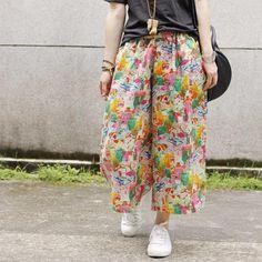 Beach Style Color Block Linen Wide Leg Pants Summer Baggy Trousers    #floral #flowers #prints #linen #colorblock #summer #baggy #trousers #amazing #style