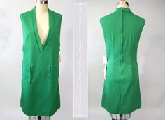 1960's Dress Mod Green Jumper NOS S by NobleSavageVintage on Etsy, $45.00