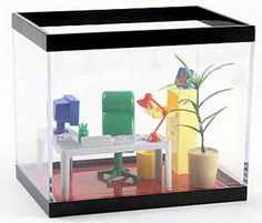 Office Fish Tank – Make your Fish Feel Like a Boss    If you want to make your fish feel like a boss, you can buy him an office fish tank.This whimsical desktop aquarium is outfitted with a mini cubicle, desk, computer, lamp, chair and potted plant everything their goldfish, guppies or tetras will need to get the job done right. All these for just $24 from here.