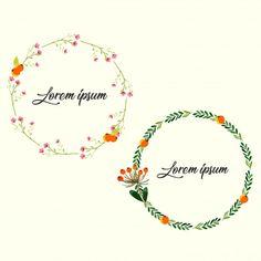 set of watercolor flower wreath for decoration Premium Vector