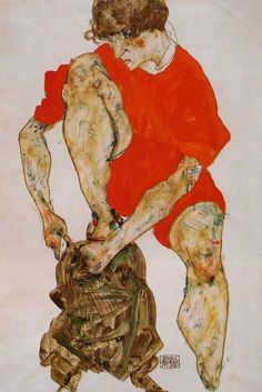 Female Model In Bright Red Jacket And Pants Painted by: Egon Schiele