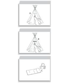 TEPEE AND MAT: Package includes patterns and instructions to make Tepee A, B: overall, 80 H × 72 diameter; inside vertical clearance 55. B: contrast