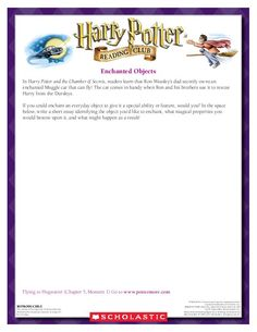 CREATIVE WRITING: Think of a Muggle object you would like to enchant!  Download by clicking the image above! For more activities visit www.scholastic.com/hpreadingclub #HarryPotter #HPread