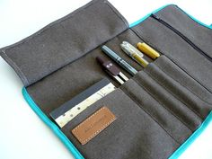 Roll up pencil case -Waxed/resined canvas chocolate brown roll up // adults pencil case/gift for him/ gift for her
