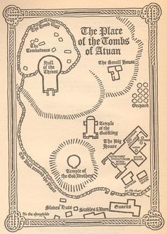 The Place of the Tombs (1974) by Ursula K Le Guin (uncredited illustration) via http://www.tavia.co.uk/earthsea/factfiles/maps.htm