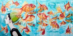 """Audrey with 24 Goldfish"" 54 x 108"