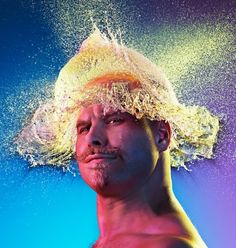 """Water Wigs by Tim Tadder. Water Wigs is a dynamic set of images using exploding shaped water balloons lit with a triad of colors, to create incredible splashes on the heads of bald men. The result is interesting and arresting """"wigs"""" of water. High Speed Photography, Art Photography, Amazing Photography, Creative Photography, Fashion Photography, Shutter Photography, Photography Contests, Foto Effects, Wow Photo"""