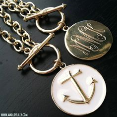Monogrammed White Anchor Toggle Necklace