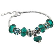 Turquoise Colored Murano Style Glass Beads and Charm Bracelet, 7.5+1″ Extender