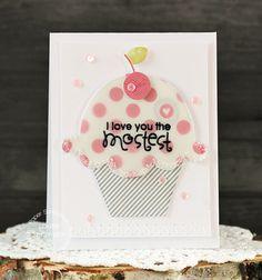 Card by PS DT Laurie Schmidlin Cupcake die, Uplifters