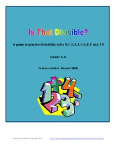 Divisibility Rules Game, Poster, and Printable
