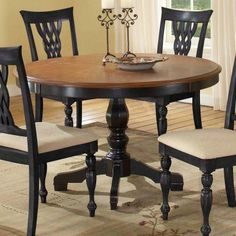 Hillsdale Embassy Round Pedestal Table With 48 Inch Pattern Veneer Wood Top Cherry Amp