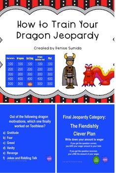 This game is a perfect way to review concepts and ideas from How to Train Your Dragon by Cressida Cowell. Jeopardy categories are Characters, Dragons, Setting, Dragon Initiation Test, and Plot. Divide your class into teams or challenge your class to play other classes.